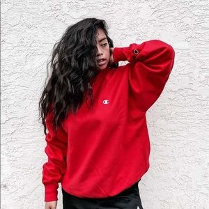 Red Champion Crewneck Sweatshirt